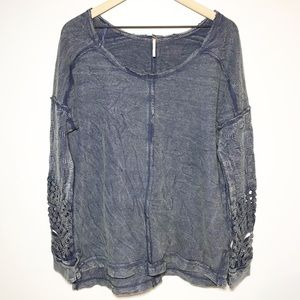 Free People Washed Out Textured Long Sleeve Tunic